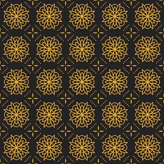 マンダラのシームレスなパターンの背景の壁紙。エレガントな伝統モチーフ。ラグジュアリーな幾何学模様。クラシックバティック。