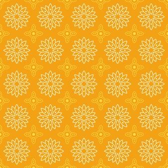 マンダラのシームレスなパターン背景。幾何学的形状の壁紙。黄色の花の観賞用の花