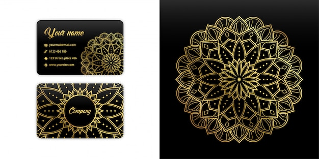 Абстрактная визитная карточка мандалы. роскошные арабески фон. цветочный узор в золотом цвете