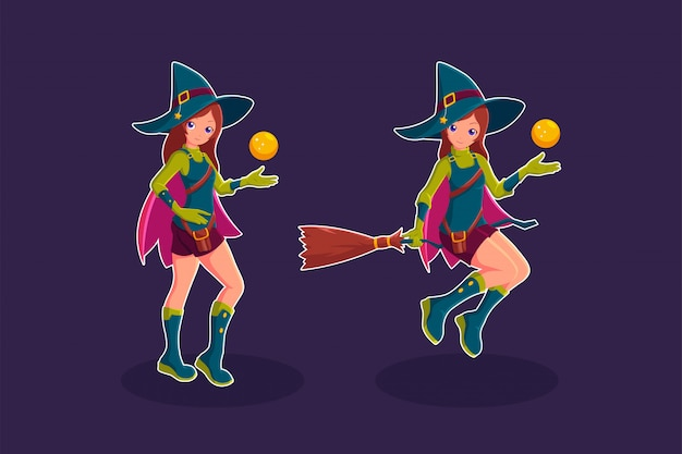Ведьма летит в метле иллюстрации персонажа из мультфильма