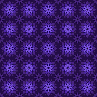 古典的なバティックのシームレスなパターン背景。豪華な幾何学的なマンダラの壁紙。紫色のエレガントな伝統的な花のモチーフ