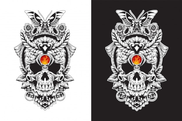 Череп декоративные рисованной иллюстрации дизайн футболки