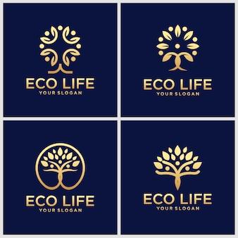 創造的な黄金の人々のセットツリーのロゴデザインのインスピレーション。