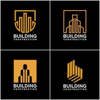 建物のロゴのセット。ラインアートスタイルの建設ロゴデザイン。