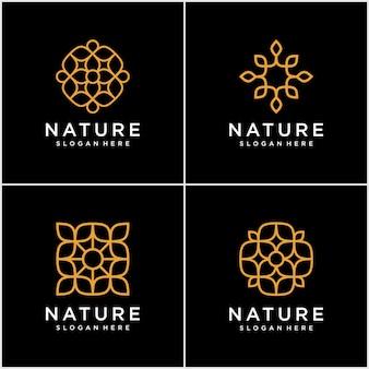 Набор шаблонов логотипа орнамента в модном линейном стиле с цветами и листьями - знаки из золотой фольги