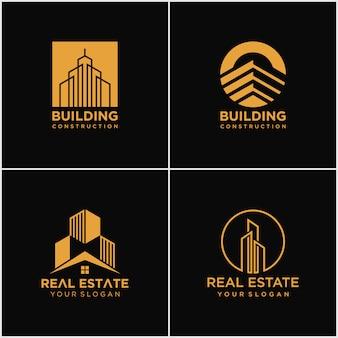 建物と不動産のロゴのセット。ラインアートスタイルの建設ロゴデザイン。