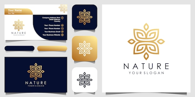 Золотой минималистский элегантный дизайн листьев и цветочных роз для красоты, косметики, йоги и спа. дизайн логотипа и визитки