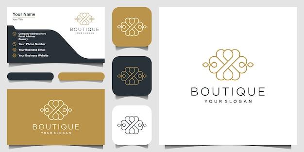 豪華な飾りのロゴデザイン。ロゴデザインと名刺