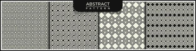 幾何学的なシームレスラインパターンのセットです。アラビア語の装飾品で白と黒の背景。