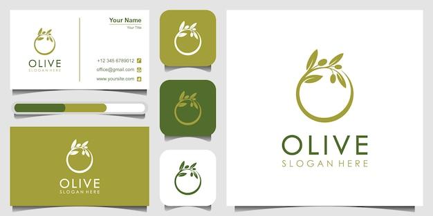 Шаблон логотипа оливкового масла и визитная карточка