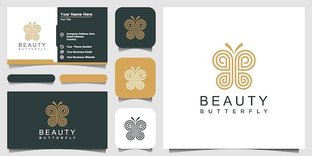 シンプルなバタフライラインアートスタイル。美しさ、贅沢なスパスタイル。ロゴのデザインと名刺。