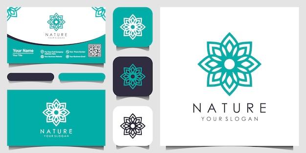 Творческая элегантная цветочная роза с дизайном логотипа элемента листа и визитной карточкой. логотип для красоты, косметики, йоги и спа.