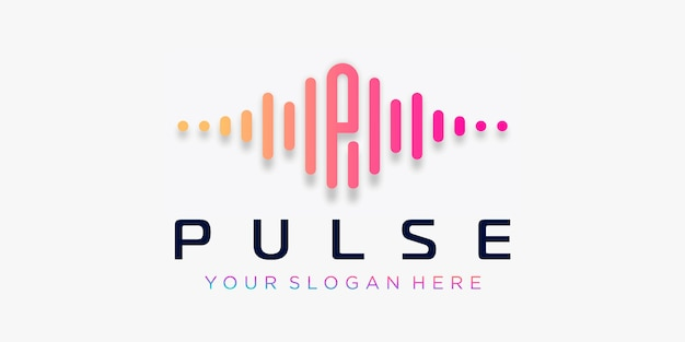 Буква р с пульсом. импульсный элемент. шаблон логотипа электронная музыка, эквалайзер, магазин, диджей музыка, ночной клуб, дискотека. аудио волна логотип концепция, мультимедийные технологии тематические, абстрактные формы.