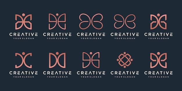創造的な抽象的なモノグラムのロゴのセット。