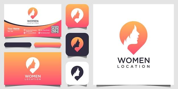 女性の場所のロゴのインスピレーション。フェミニンなピンのロゴデザインテンプレートです。女性ファインダーのロゴと名刺デザイン