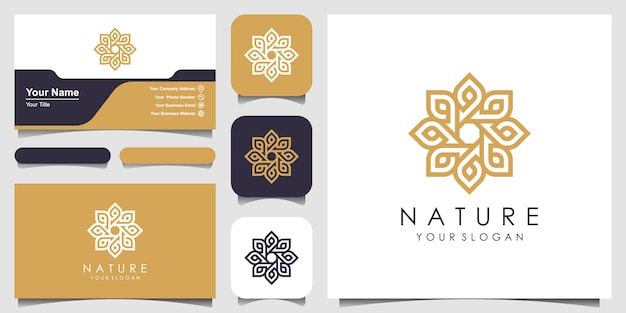 Креативная элегантная цветочная роза с логотипом элемента листа и визитной карточкой. логотип для красоты, косметики, йоги и спа.