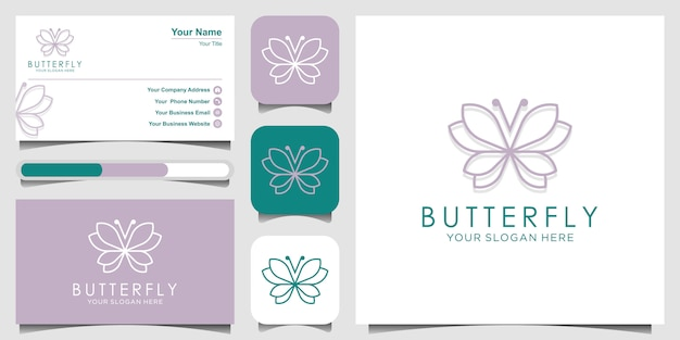 ミニマリストの蝶ラインアートモノグラム形ロゴ。美しさ、贅沢なスパスタイル。ロゴのデザイン、名刺。