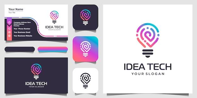 スマート電球技術のロゴアイコンと名刺。電球ロゴデザインカラフル。アイデア創造的な電球のロゴ。電球デジタルロゴ技術アイデア