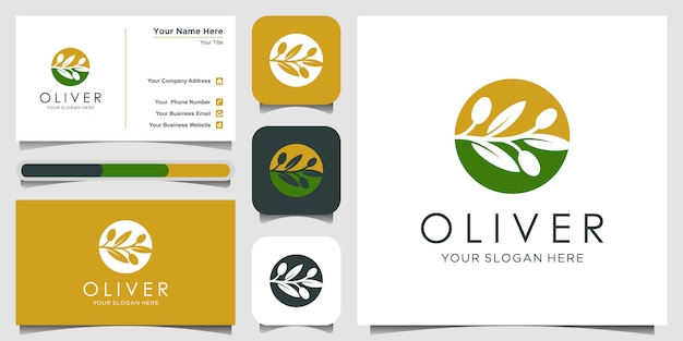 Оливковое масло с концепцией дизайна логотипа негативное пространство. дизайн логотипа и визитки