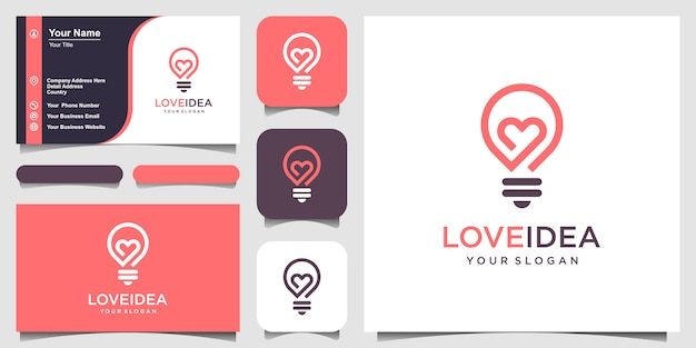 Любовная идея с лампой накаливания и логотипом сердца и визитной карточкой.
