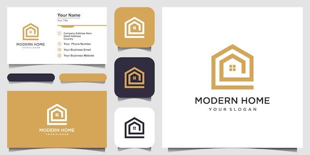 ラインアートスタイルで家のロゴを作成します。ロゴと名刺デザインのホームビルド抽象