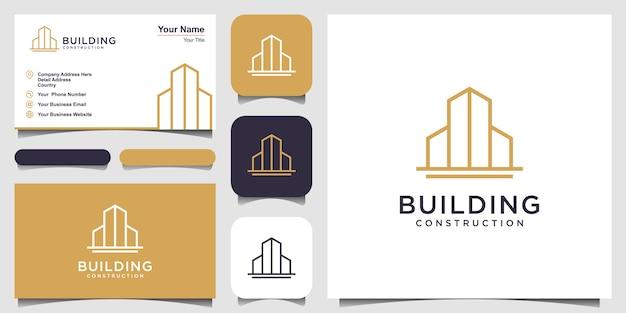 ラインアートスタイルの建物のロゴ。ロゴデザインのインスピレーションと名刺デザインの都市の建物の要約