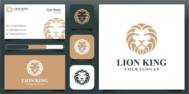 Голова льва значок с круговой концепции роскошный логотип дизайн иллюстрации шаблон