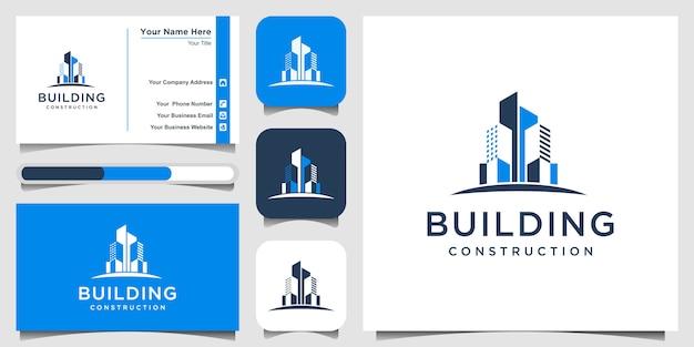 建物の建設ロゴデザインインスピレーション。ロゴデザインと名刺