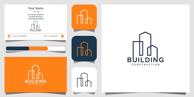 ラインコンセプトのロゴデザインを構築します。ロゴデザインのインスピレーションのための都市の建物の要約。ロゴデザインと名刺