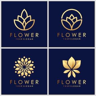 Набор золотой минималистский элегантный цветок дизайн логотипа. косметика, йога и спа дизайн логотипа вдохновения.