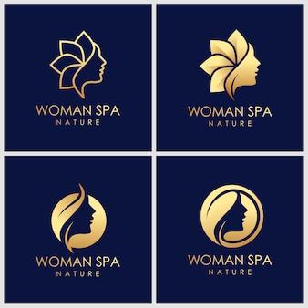 創造的な黄金の美肌ケアロゴデザイン。スパ療法のロゴのコンセプト。
