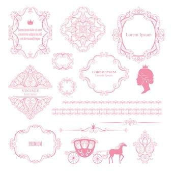 ヴィンテージデザイン要素のメガセットコレクション。