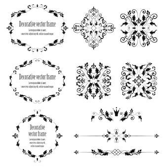 花のデザイン要素セット