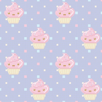 紫色の水玉の背景にカップケーキとニットのパターン