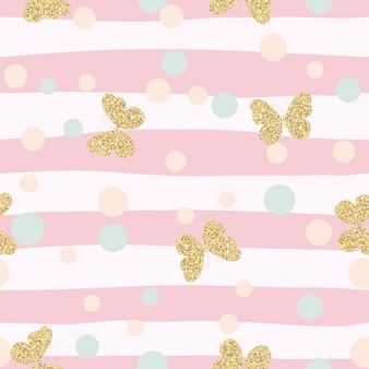 金色の輝く蝶の色付きのシームレスなパターン