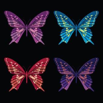 黒の背景に蝶のコレクションを設定