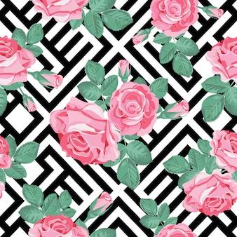 花のシームレスなパターン。黒と白の幾何学的背景に葉のピンクのバラ