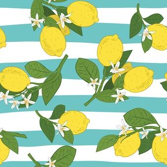 レモンと枝のシームレスパターン