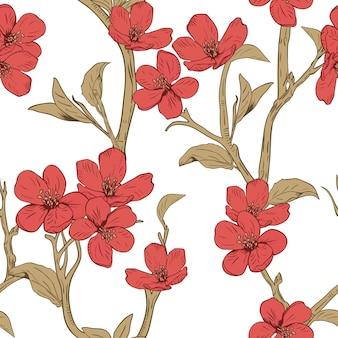 咲く木。花とのシームレスなパターン。