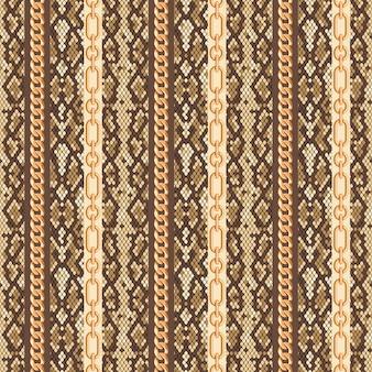ゴールドチェーンスネークスキンのシームレスパターン