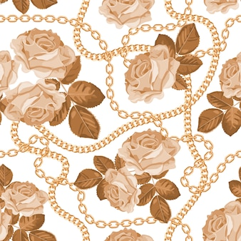 Узор фон с золотыми цепями и бежевых роз