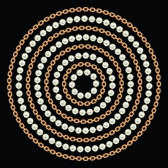 金色の鎖と真珠で作られた丸い模様。