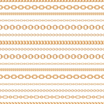 白地にゴールドチェーンラインのシームレスパターン