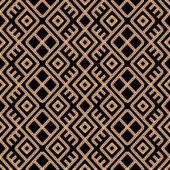 黒地にゴールドチェーン飾りのシームレスパターン