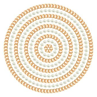 Круглый узор из золотых цепочек и жемчуга