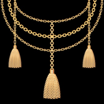 金色の金属製のネックレスの背景。タッセルとチェーン黒に。ベクトルイラスト