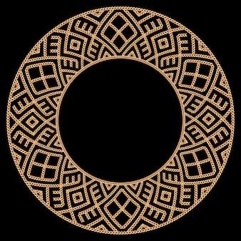 金色の鎖で作られたラウンドフレーム。黒に。ベクトルイラスト