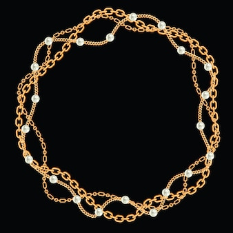 Круглая рамка из витых золотых цепей. с жемчугом на черном. векторная иллюстрация