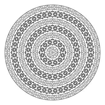 単色民族のシームレステクスチャ。丸い観賞用ベクトル図形が白で隔離。東洋唐草パターン背景。黒と白の色のベクトル図