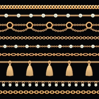 金色の金属チェーンのパターンは真珠とタッセルで接しています